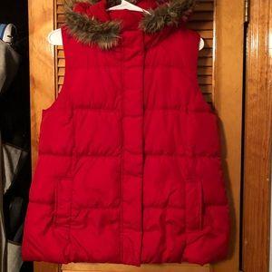 Women's Red Puffer Vest